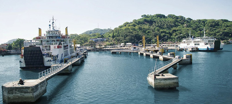 Lombok's Lembar seaport as seen from the water - where thousands of Lombok cruise passengers are expected to