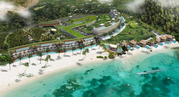 Rendering of $USD 3Billion Mandalika Resort hotel on wite sand beach
