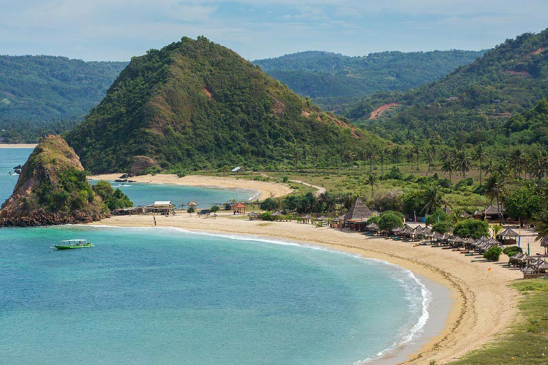 View of Kuta Beach in newly created Lombok's new Mandalika Special Economic Zone