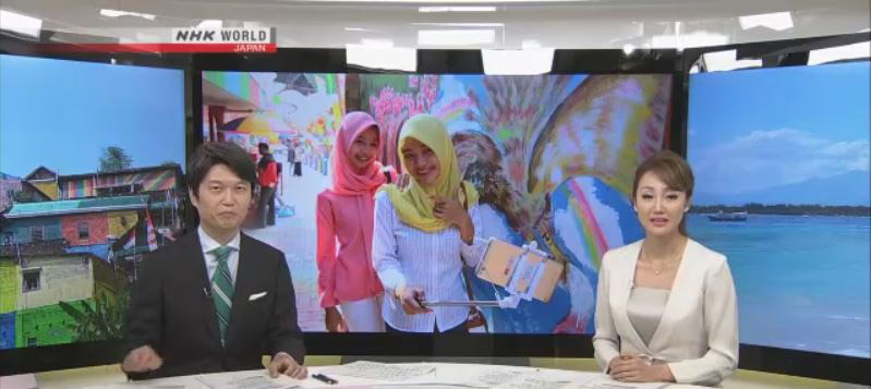NHK News Anchors Hideki Nakayama and Aki Shibuya explaining how Indonesias effort bossting tourism