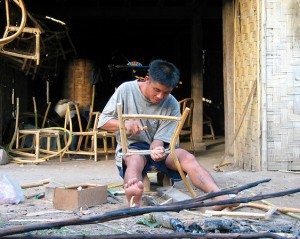Lombok Man Making Chair