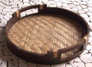 Lombok Round Tray With Woven Bamboo