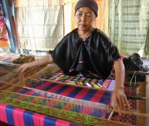 Lombok Weaver On The Loom