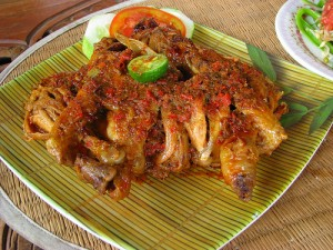 Lombok Plecing Chicken Dish